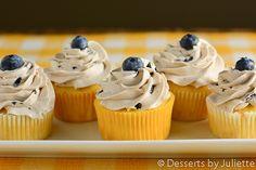 Lemon Cupcakes with Blueberry Buttercream #cupcakes #lemon #blueberry