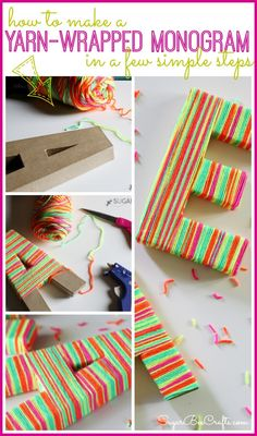 how to make Yarn-Wrapped Monogram (neon style!) - Sugar Bee Crafts