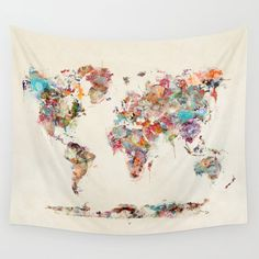 world map watercolor Wall Tapestry by bribuckley - Products - wandkunst Watercolor World Map, Watercolor Walls, Watercolors, My New Room, My Room, World Map Tapestry, Teen Girl Gifts, Cute Dorm Rooms, Preppy Dorm Room