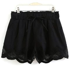 Crochet Splice Elastic Waist Drawstring Shorts (450 ARS) ❤ liked on Polyvore featuring shorts