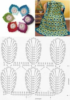 Peacock Crochet Models video and ideas - Knitting New Crochet Flower Tutorial, Crochet Flower Patterns, Crochet Stitches Patterns, Crochet Designs, Crochet Flowers, Crochet Lace, Knitting Patterns, Knitting Charts, Stitch Patterns