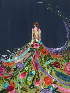 Lady and a dress made out of flowers painting. Silent Melody III by Bari J.