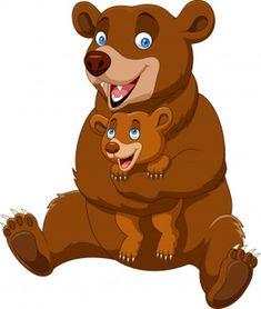 Cartoon mother and baby brown bear vector image on VectorStock Bear Cartoon, Cartoon Kids, Zoo Animals, Cute Animals, Dream Catcher Vector, Panda Lindo, Mother And Baby Elephant, Bear Vector, Bear Drawing