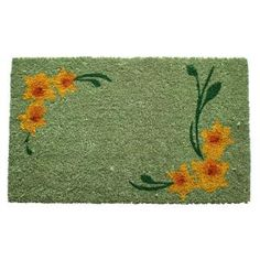 Entryways, Daffodil Corners 17 in. x 28 in. Non Slip Coir Door Mat, P1047 at The Home Depot - Tablet