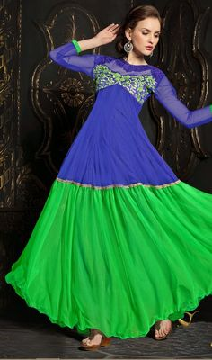 Make your style quotient draping this blue and parrot green net flared Anarkali churidar dress. The charming lace and resham work throughout the dress is awe-inspiring. #LatestAnarkaliCasualSuit