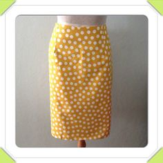 Ladies Yellow Polk-A-Dot Pencil Skirt   on Etsy, $34.00