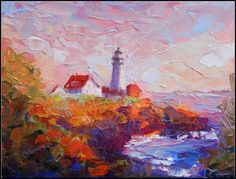 """Portland Head Light, oil on canvas, palette knife, impressionism, Maryanne Jacobsen award-wi"" - Original Fine Art for Sale - © maryanne jacobsen Chalk Pastel Art, Lighthouse Painting, Impressionist Art, Impressionism, Building Art, Texture Painting, Diy Painting, Knife Painting, Beautiful Paintings"