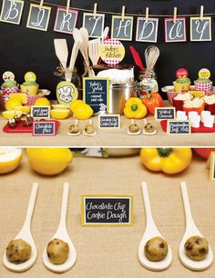 ideas for kitchen decor themes chef birthday parties Burger Party, Pizza Party, Kids Cooking Party, Cooking With Kids, Master Chef, Ratatouille, Childrens Baking, Custard Cookies, Cookie Decorating Party