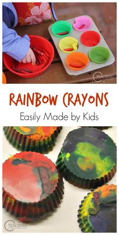 Make Your Own Rainbow Crayons for Kids - a fun color sorting activity! Teaching 2 and 3 Year Olds We had our preschoolers sort crayons by color before making our own crayons that we then used at our writing table. A fun rainbow activity! Rainbow Activities, Montessori Activities, Color Activities, Preschool Activities, Preschool Centers, Easy Toddler Crafts, Toddler Fun, Toddler Meals, Preschool Colors