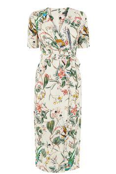 Dresses | Cream Bird Print Wrap Dress | Warehouse