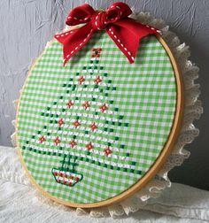 Hoop Art Christmas Tree Embroidery Christmas by VintagePlusCrafts