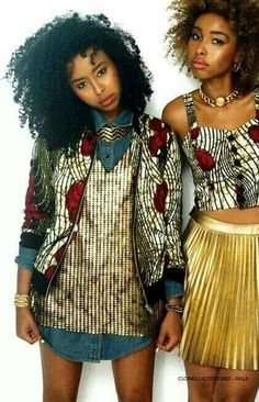 African prints and denim.