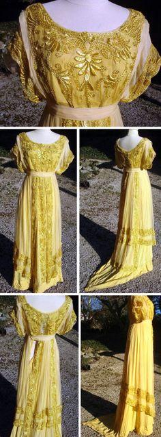 """Silk tunic dress. Label says, """"Les Roses d'Orsay, Parfumiers, 17 Rue de la Paix, Paris."""" Atelier 1900"""