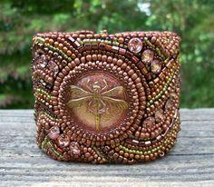 Copper Dragonfly Beaded Tapestry Cuff Bracelet by beadn4fun, $139.00
