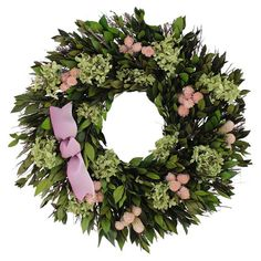 """Adorned with purple hydrangea and a 2-tone ribbon, this charming wreath is a welcoming accent in the entryway or displayed above your mantel. Construction Material: Silicone; Color: Green, purple, pink and white; Features: Includes myrtle, hydrangeas, globe and ribbon; Handmade; Dimensions: 16"""" Diameter x 4"""" D; Cleaning and Care:Avoid sunlight, moisture, heat and humidity. Wipe clean with a dry cloth."""