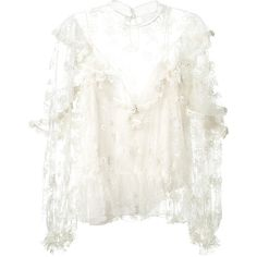 Chloé Ruffled Embroidered Ivory Tulle Blouse (41,240 MXN) ❤ liked on Polyvore featuring tops, blouses, white camisole, floral cami, white ruffle blouse, white frilly blouse and floral blouse