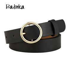 37c522d140 Badinka New Gold Round Metal Circle Belt Female Gold Silver Black White PU Leather  Waist Belts