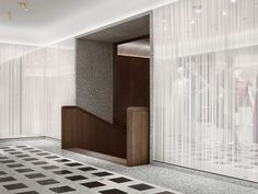Stairs inside the Valentino concept store by David Chipperfield.:
