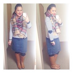 Zara inspired blanket scarf navy stripes heart elbow patches denim riding boots modest winter fashion Instagram user @melbella14