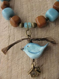 paper clay bird bead