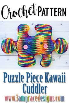 Puzzle Piece Kawaii Cuddler™ - Crochet Pattern : Our Puzzle Piece crochet pattern & tutorial makes an adorable pillow for you as well as promotes Autism Awareness. Easy Crochet Patterns, Crochet Patterns Amigurumi, Crochet Designs, Crochet Dolls, Crochet Blocks, Afghan Patterns, Square Patterns, Knitting Patterns, Crochet For Kids