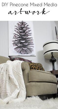 very easy DIY pinecone mixed media artwork