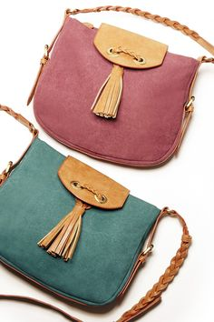 Canvas crossbody bags with tassels & braided shoulder straps