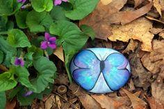 Butterfly blue  Number 1 Painted Rock by BillieRocks on Etsy, $14.00