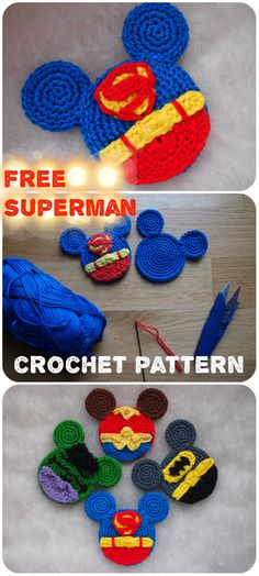 When I first made some superheroes for my kids and share the patterns, some people wrote me that I mixed DC and Marvel heroes. Crochet Gratis, Crochet Yarn, Free Crochet, Crochet Disney, Crochet Mouse, Crochet Toys Patterns, Knitting Patterns, Crochet Appliques, Superman Crochet