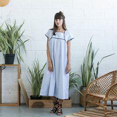 Oversized dress Embroidered Cotton Maxi dress Light by Naftul