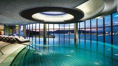 The indoor infinity pool at Altira Macau offers sweeping views of the Macau peninsula.