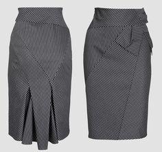 jupe à découpes et plis creux