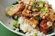 Tofu with a Zesty Rhubarb Sauce and Kale