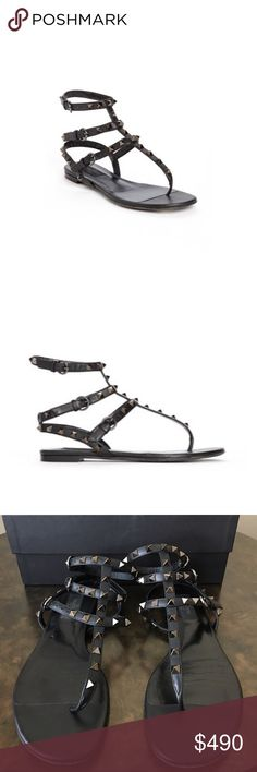 Valentino 'Noir Rockstud' Thong Sandal Pyramid studs toughen up a strappy Italian thong sandal with rock-star appeal. Previously used. Very good condition overall. No studs missing.  Adjustable straps with buckle closures. Leather upper, lining and sole. By Valentino; made in Italy Valentino Shoes Sandals