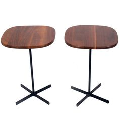 Clean Lined Walnut and Iron End Tables by Allan Gould | From a unique collection of antique and modern end tables at https://www.1stdibs.com/furniture/tables/end-tables/