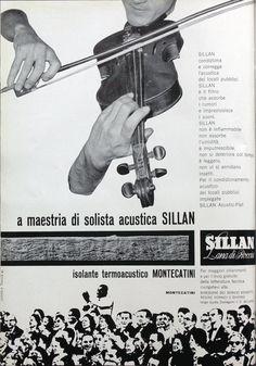 Silvio Coppola  Pagina pubblicitaria per Sillan - Montecatini a maestria di solista acustica Sillan  Progetto grafico di Silvio Coppola, (1920-1985).