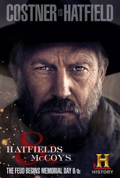 """Kevin Costner as """"Devil Anse"""" Hatfield, patriarch of that Hatfield clan along the Tug River valley separating West Virginia and Kentucky.AWESOME show Western Film, Western Movies, Movies Showing, Movies And Tv Shows, Hatfields And Mccoys, Image Internet, I Love Cinema, Movies Worth Watching, Kevin Costner"""