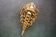Gold magic wand or sceptre pin. Recyled by OutsiderArtJewelry
