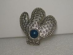 "Vintage Silver tone Southwestern Cactus Brooch, Faux Lapis Lazuli, 2.5"" #Unbranded"