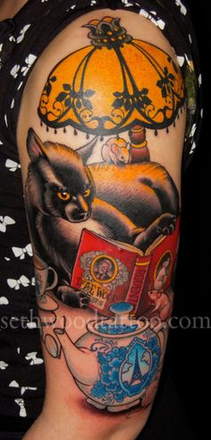 Seth Wood Tattoo ~ Reading with cats and tea…???'s favorite things.  Sneaky biographical tribute to my grandfather, Dr. A.E. Wood, noted paleontological expert in rodents.  Made at Invictus, Oslo.