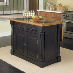 Home Styles 48-in L x 25-in W x 36-in H Black Kitchen Island with Black Granite Top