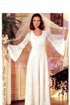 Vintage CROCHET Wedding Dress PDF Pattern - Wedding Gown