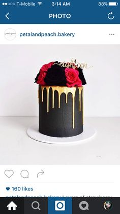 Love the black and gold on this bespoke cake by Petal and Peach Pretty Cakes, Beautiful Cakes, Amazing Cakes, Fancy Cakes, Mini Cakes, Cupcakes, Cupcake Cakes, Birthday Drip Cake, 21st Cake