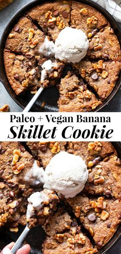 This gooey banana chocolate chip skillet cookie is a dessert that's heathy enough for breakfast! Gluten-free, grain free, paleo, dairy free, and vegan too! Paleo Dessert, Healthy Desserts, Healthy Fats, Dessert Recipes, Honey Dessert, Dessert Bread, Skillet Chocolate Chip Cookie, Skillet Cookie, Chocolate Morsels
