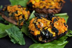 Portobello Stuffed Mushrooms With Tuscan Kale and Sweet Potato Vegan Vegetarian, Vegetarian Recipes, Cooking Recipes, Delicious Vegan Recipes, Healthy Recipes, Tasty, Healthy Food, Raw Food, Lunch Recipes