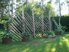 Check out our Beautiful Gallery of Wood Fence Ideas and Designs including Privacy, Security, Decorative Fences & More. Bamboo Garden Fences, Garden Gates, Porch Garden, Terrace Garden, Outdoor Plants, Outdoor Gardens, Garden Structures, Outdoor Structures, Wood Fence Design