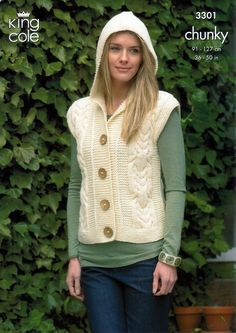 Knitting Pattern Gilet : 1000+ images about Knitting Patterns Adult Clothes on Pinterest Chunky knit...