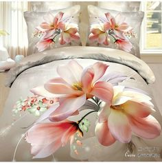 pink  rose wedding Bedclothes 4pc  3d bedding set  queen size Duvet/comforter/Quilt cover white cotton bed linen sheets sets