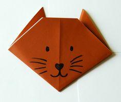 basteln origami tiere gesicht katze malen nase augen schnurrhaare schritt 9