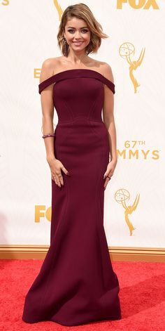 Sarah Hyland in Zac Posen at the Emmys 2015 Red Carpet Arrivals - from InStyle.com